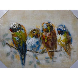 CANVAS PARROTS ON A BRANCH