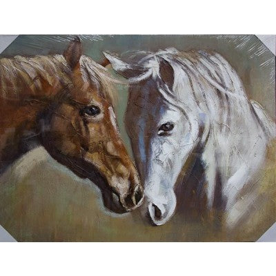 CANVAS 2 HORSES WHITE - Luxe Living