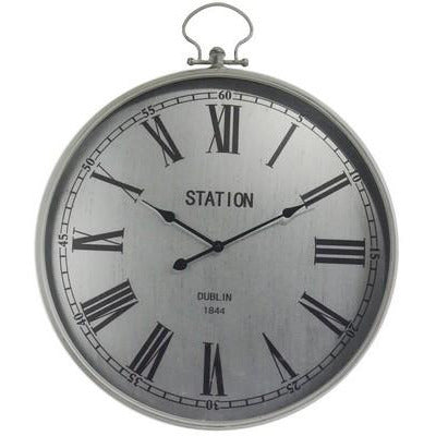 OLD TOWN METAL WALL CLOCK - TAIWAN MOVEMENT - SILVER - Luxe Living