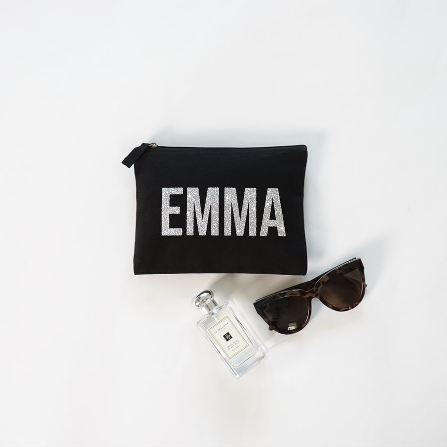 Personalized makeup bag black