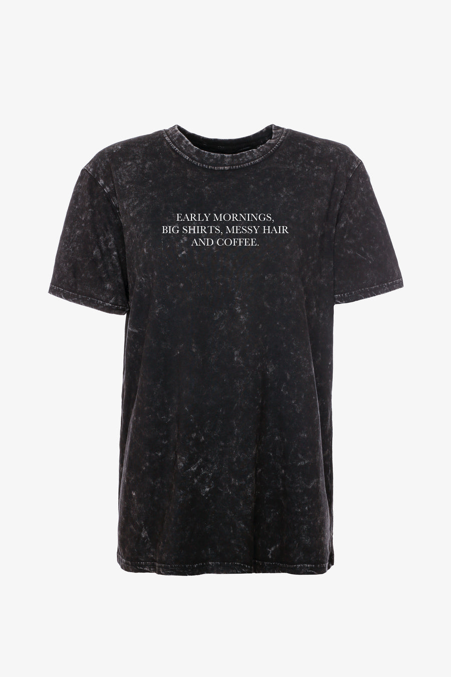 Gossengold- Early Mornings, Big Shirts, Messy Hair & Coffee Slogan T-Shirt Damen - schwarz