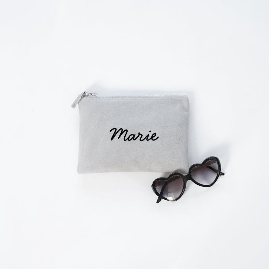 Personalized makeup bag gray