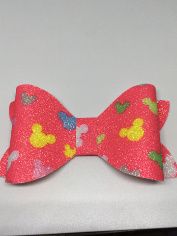 Glitter mouse head bow