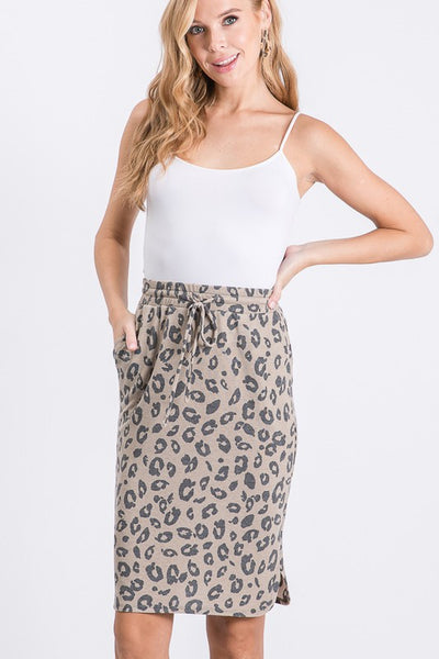 SALE *S, 2XL, 3XL* Covering the Basics Leopard Skirt