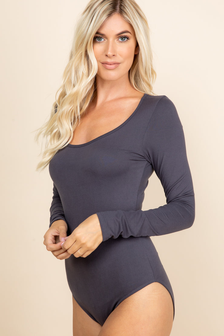 Solid and Classic Bodysuit- Charcoal