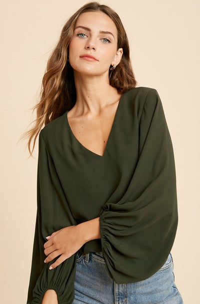 Chiffon Bubble Sleeve Bodysuit- Olive