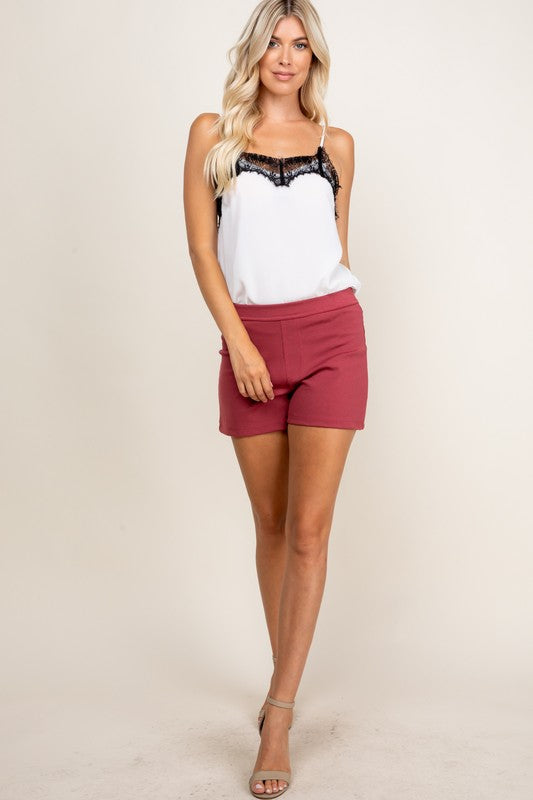 Everyday Solid Shorts- Wine