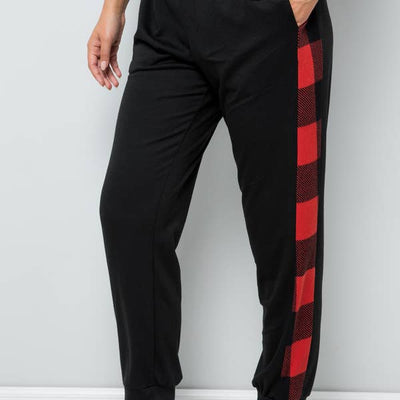 Pop of Pattern Joggers- Red Plaid