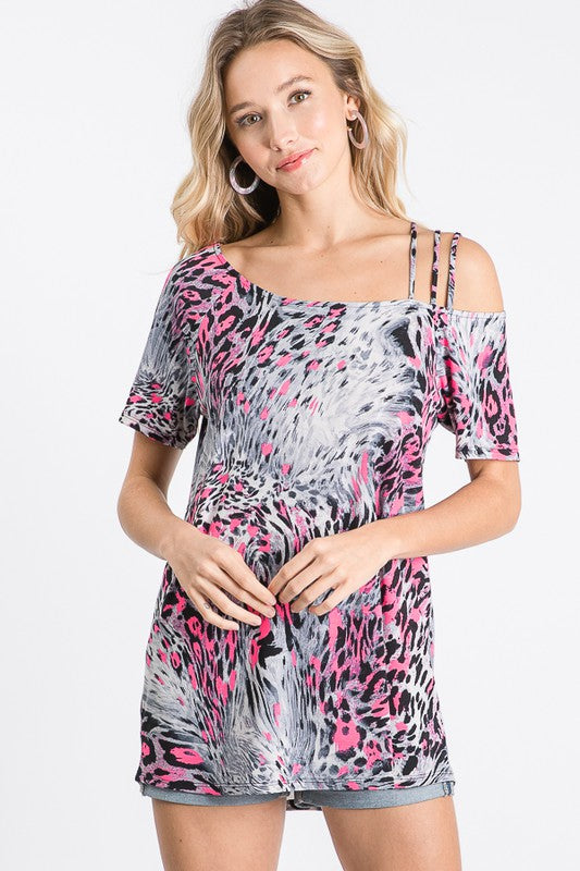 Cold Shoulder Strap- Leopard