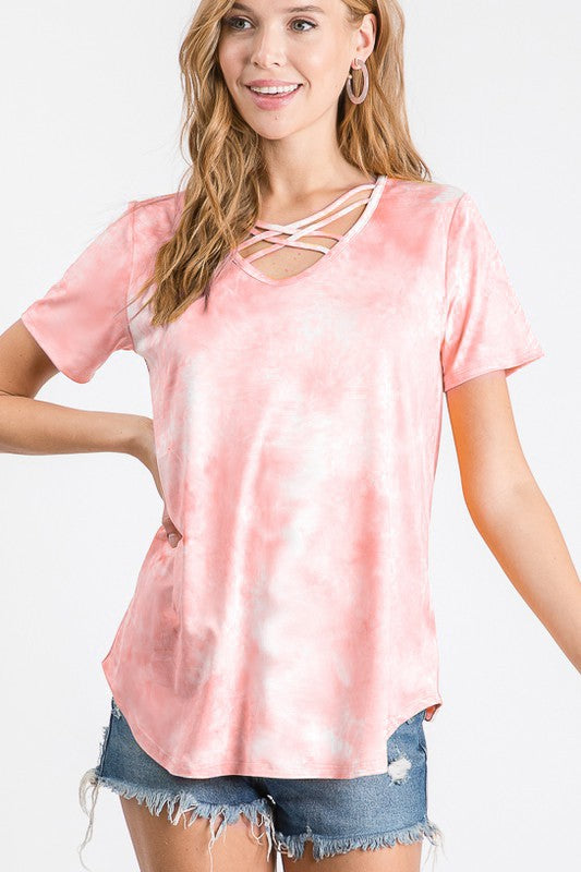 Life of the Party Criss Cross Tee- Pink