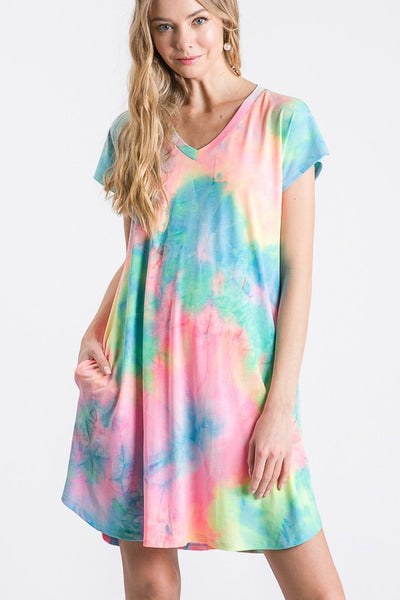 Simple T-Shirt Dress- Rainbow