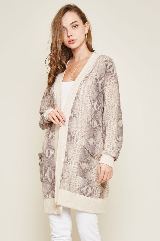 Warm Me Up Snake Skin Cardigan- Taupe