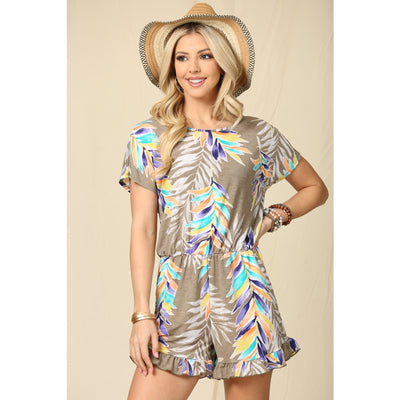 Lucky Feather Romper- Taupe