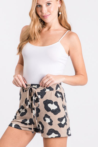 Lounge Shorts- Taupe Leopard