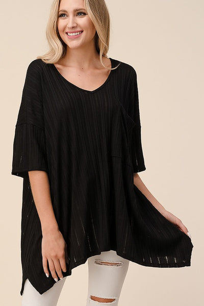 Ribbed Goddess Top- Black