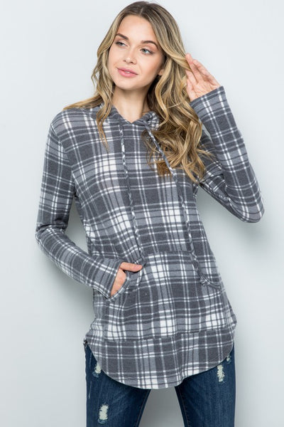 Shades of Plaid Top- Charcoal