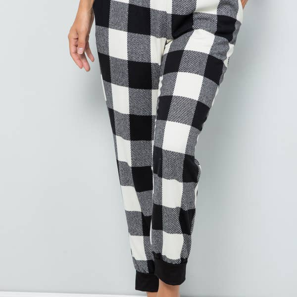 Cozy at Home Joggers- White Plaid