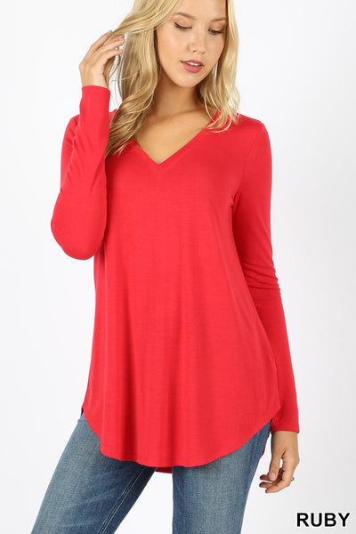 Sit Back and Relax V-Neck Top- Ruby Red