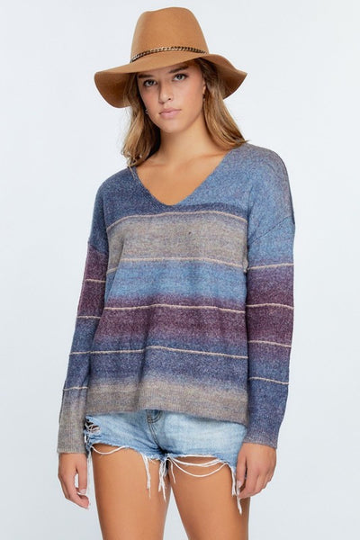 Ombre Stripes Sweater- Blue