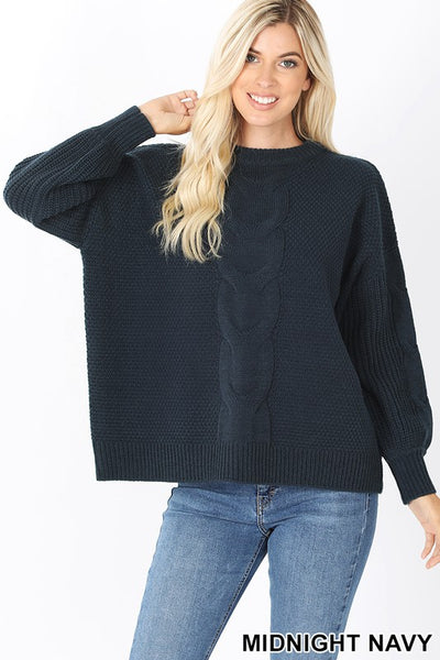 Braided Chunky Sweater- Midnight Navy