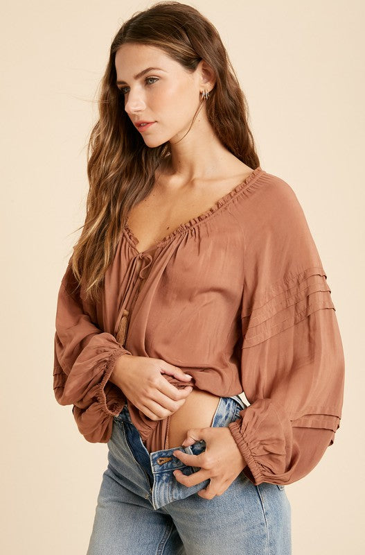 Ruffles and Tassels Bodysuit- Rust