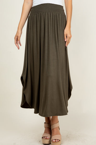 Smoking Hot in Solid Skirt- Olive