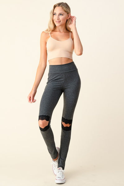 Cut it Out Lace Leggings- Grey