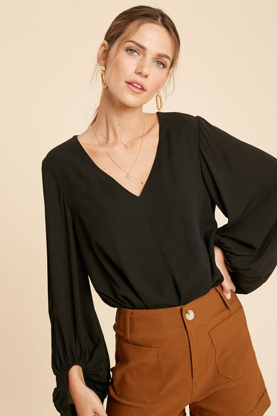 SALE *S* Chiffon Bubble Sleeve Bodysuit- Black