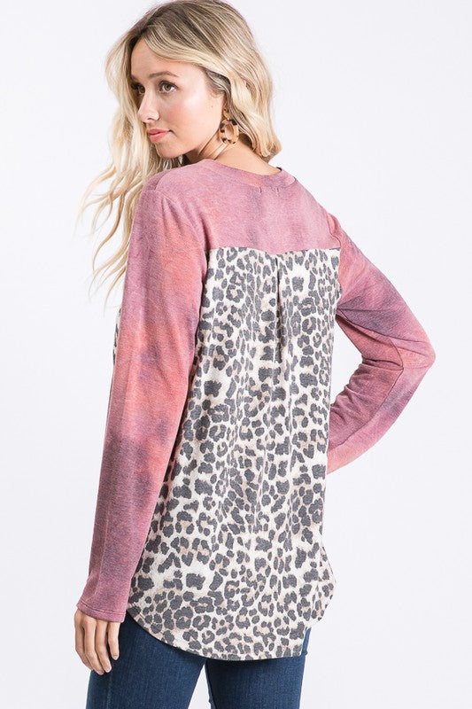 Wildin' Out Leopard Top- Burgundy