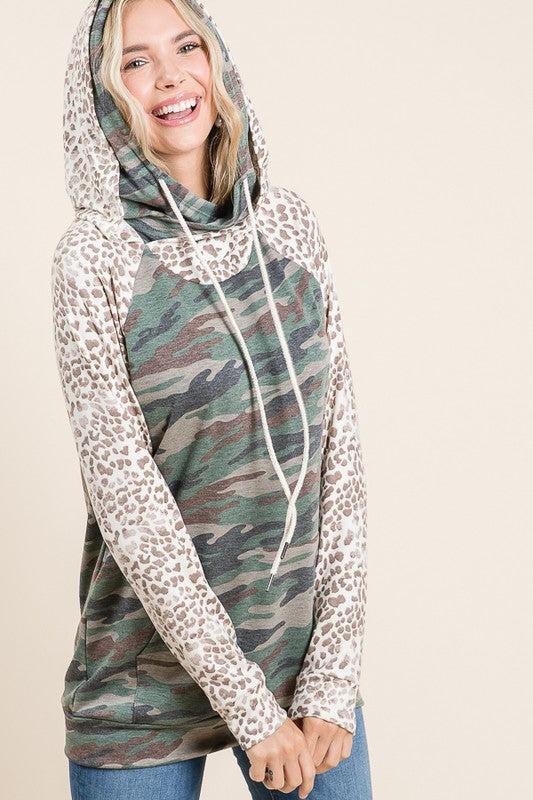 Seeing Double Camo and Leopard Hoodie