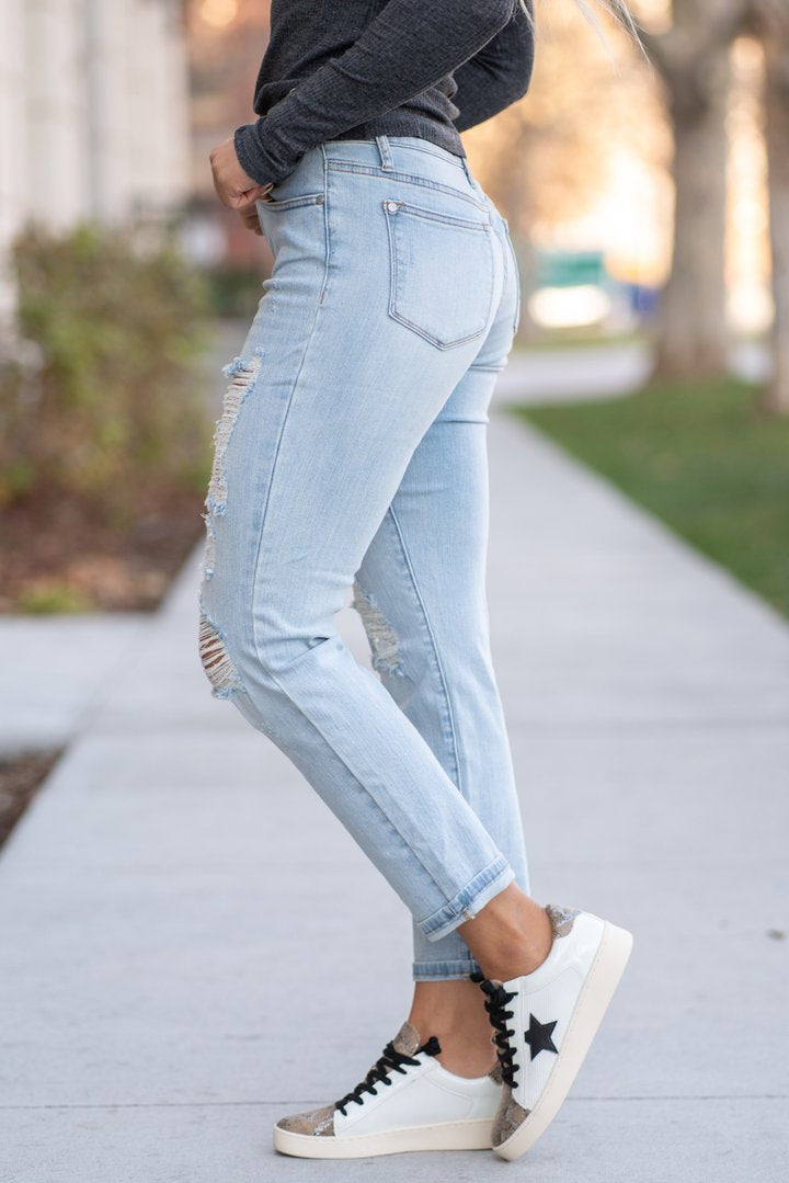 The Brandy- Judy Blue Denim- Destroyed Mid-Rise Boyfriend