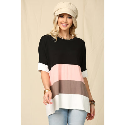 Stripes of Life Top- Black