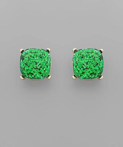 Emerald Green Glitter Epoxy Studs