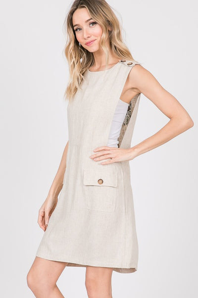 Sweet and Simple Mini Overall Dress- Natural