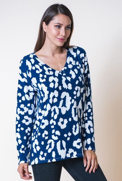 Brave Leopard Top- Navy