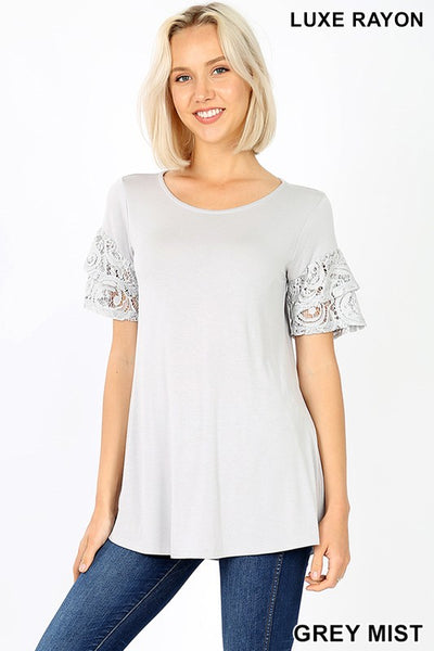 Super soft & Stretchy lace Sleeve Top - Grey