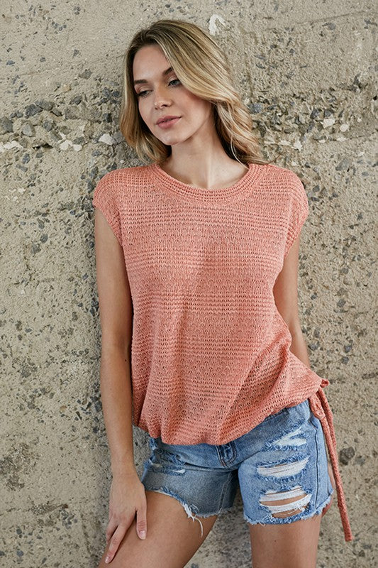Everything to Love Knit Top- Salmon