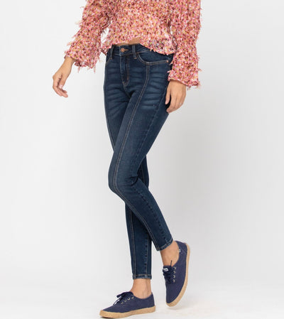 The Cheryl- Judy Blue Denim- Mid Seam Dark Skinny Jean