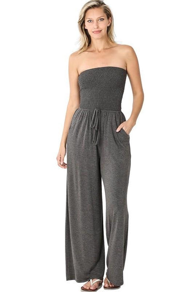 Smocked Tube Top Jumpsuit- Charcoal