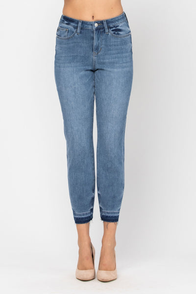 The Angie- Judy Blue Denim- Thermal Undone Hem Boyfriend