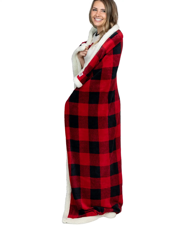Red Plaid Sherpa Blanket and Eye Cover Set