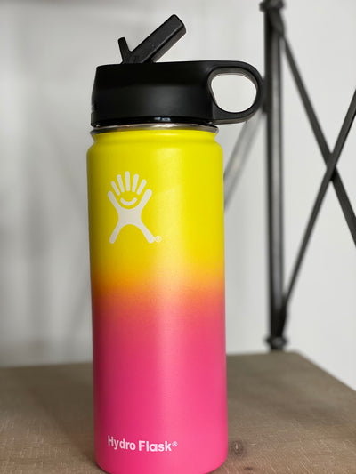 18oz Hydro w/Straw Lid- Yellow/Pink