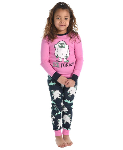 PREORDER Yeti For Bed- Kid's Pink PJs