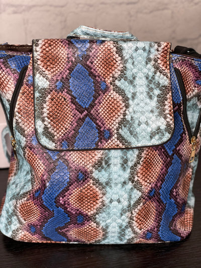 Snakeskin Book Bag- Blue
