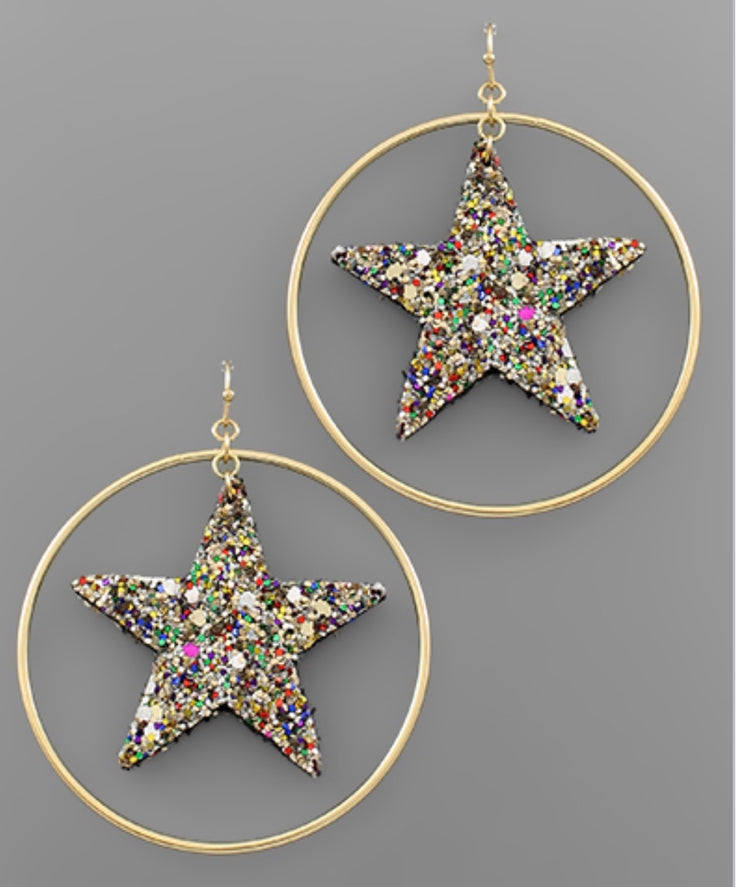 Multi Glitter Star Circle Earrings