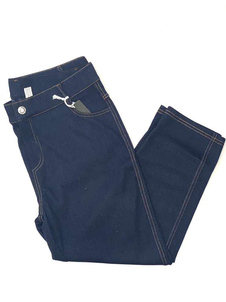Pull On Denim Capri- Navy