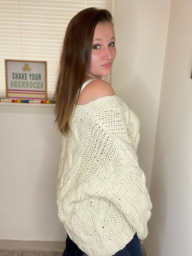 Cozy Braided Sweater- Almond
