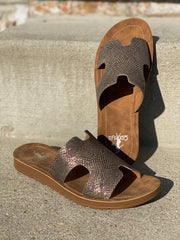 Gun Metal Corky Sandals- Hermes Dupes