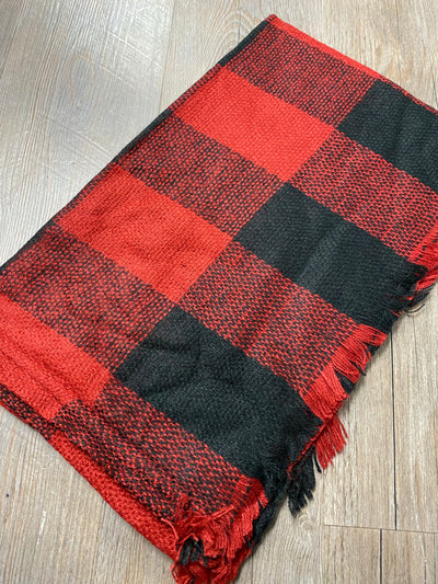 Black/Red Buffalo Plaid Scarf