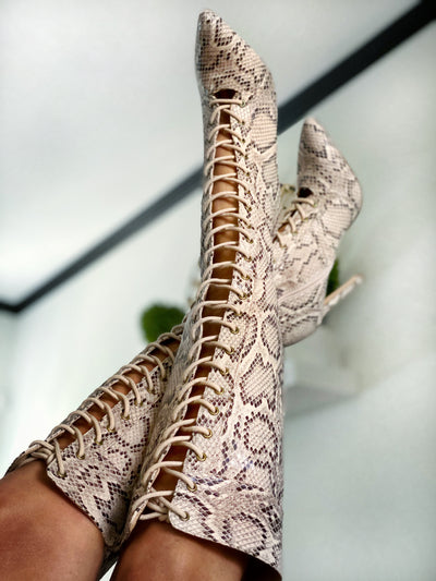 Knee High Lace Up Boots- Snakeskin